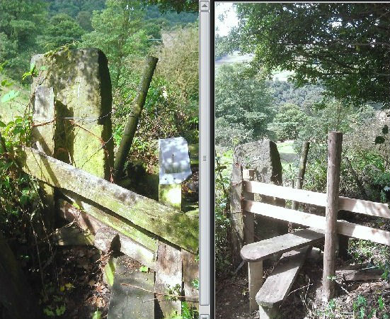 Impassable stile on a path below Burlees Lane, Hebden Bridge