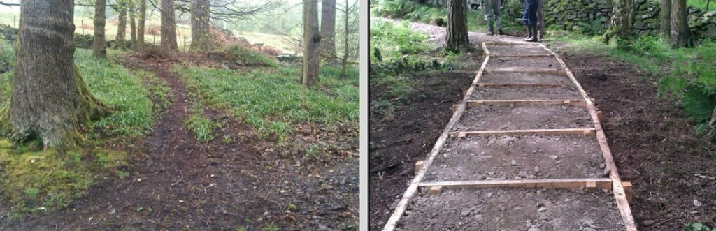 A new path up to the campsite at Midgehole