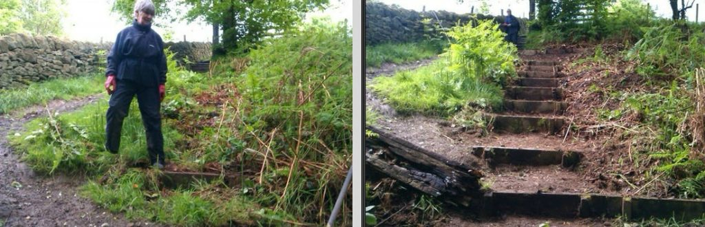 Uncovering steps at Daisy Bank above Mytholmroyd