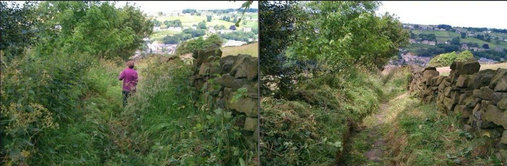 Before and after a cutting back session above Ripponden
